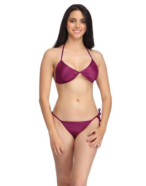 Clovia Set Of Halter Neck Bra & Stringy Bikini - Wine (Free Size)  available at Nykaa for Rs.250