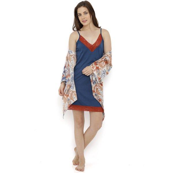 Heart 2 Heart Batiq Nightdress With Robe - Navy (L)