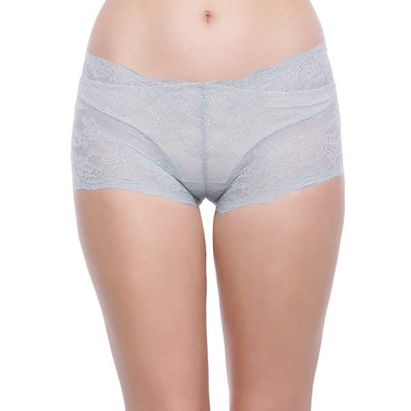 Zivame Super Soft Lace Kissed Boy-Short Brief- Light Blue  available at Nykaa for Rs.175