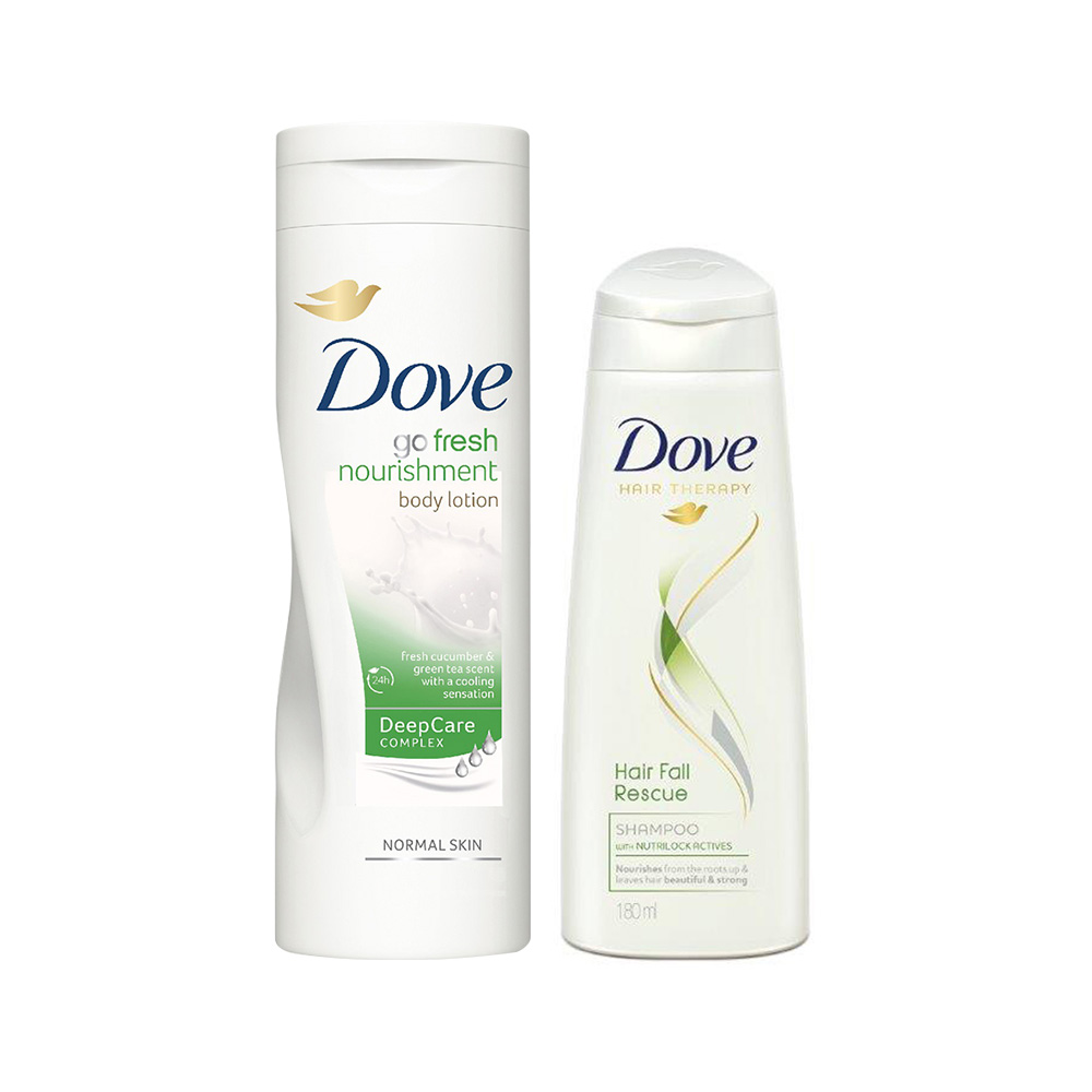 Buy Dove Go Fresh Body Lotion & Get Hair Fall Rescue Shampoo Free  available at Nykaa for Rs.370