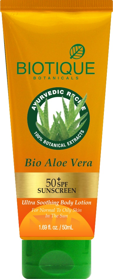Desc Biotique Bio Aloe Vera Ultra Soothing Body Lotion SPF 50+ Sunscreen  available at Nykaa for Rs.128