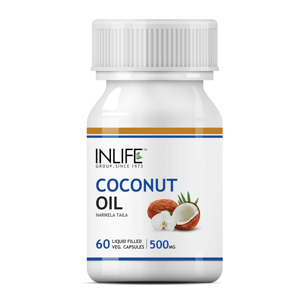 INLIFE Coconut Extra Virgin Cold Pressed Deodorized Oil, 60 Veg Caps For Fat Loss
