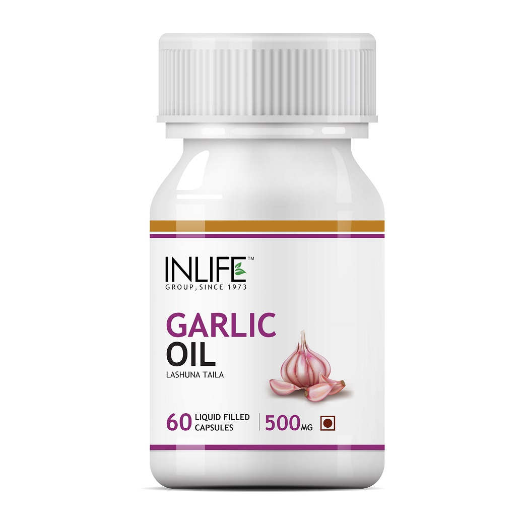 INLIFE Natural Garlic Oil, 60 Capsules For Heart, Cholesterol and Weight Loss