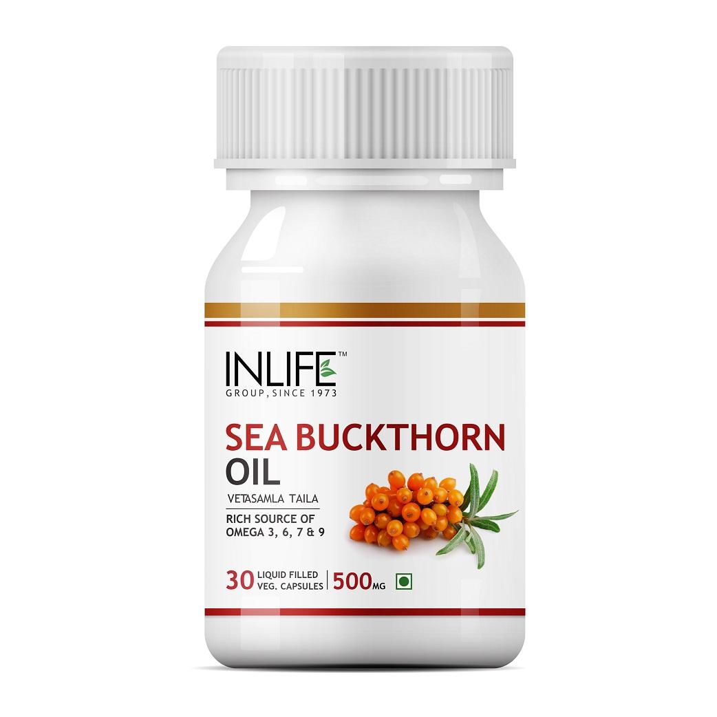 INLIFE Seabuckthorn Seed Oil, 500mg, 30 Veg Caps, Anti Aging Omega 7 Supplement
