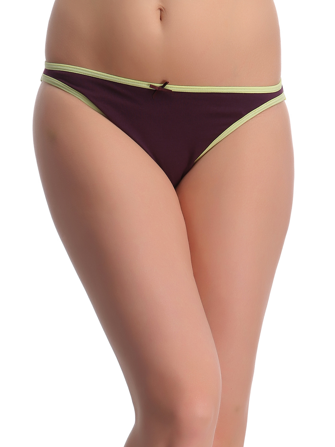 Clovia Black Cotton Lycra Bikini With Light Green Highlights - Green  available at Nykaa for Rs.150