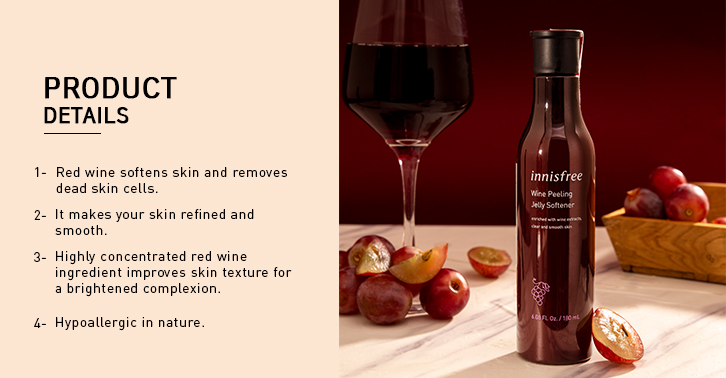 Innisfree wine peeling jelly softener product details page two.