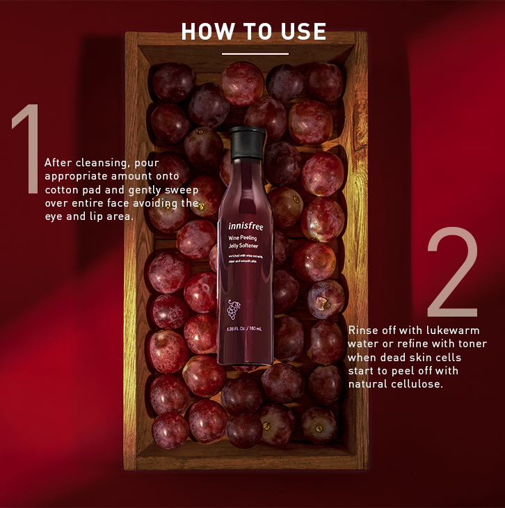 Innisfree wine peeling jelly softener product details page four.