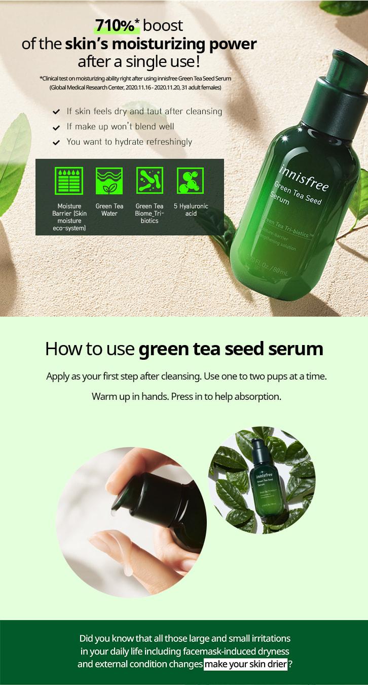 How to use green tea seed serum.
