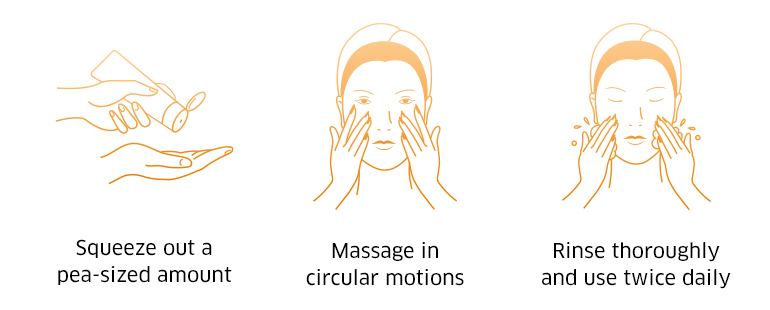 Squeeze out a pea-sized amount, massage in circular motions, rinse thoroughly and use twice daily