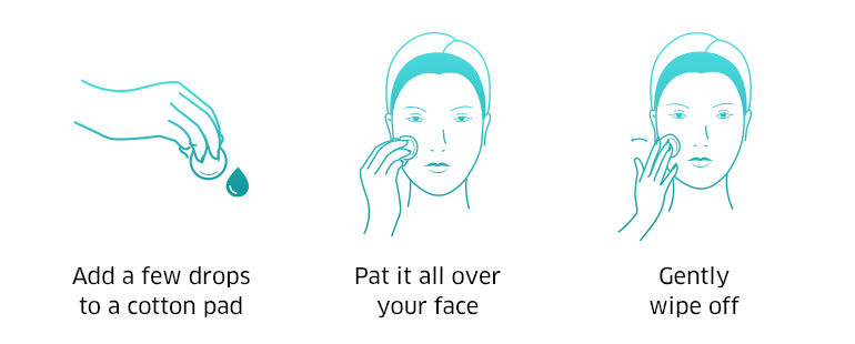 Apply a few drops to a cotton pad, pat it all over your face, gently wipe off