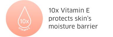 10x Vitamin E protects skins moisture barrier