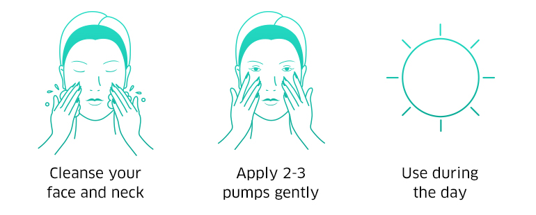 Cleanse your face and neck, apply 2-3 pumps gently, use during the day