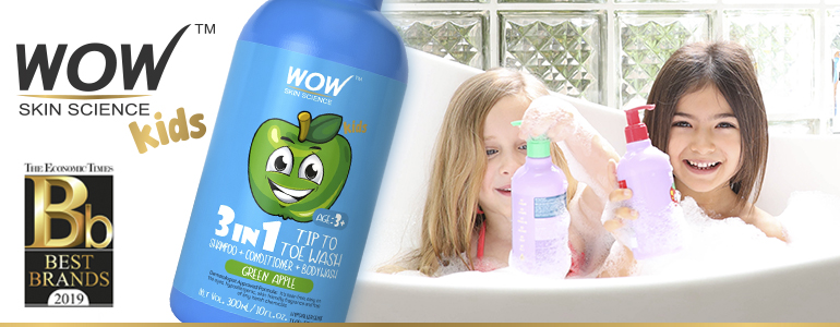 WOW Skin Science Kids Green Apple 3 in 1 Tip to Toe Wash - Shampoo + Conditioner + Bodywash
