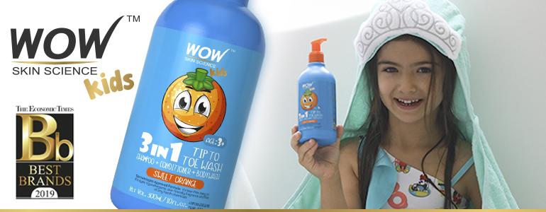 WOW Skin Science Kids Orange 3 in 1 Tip to Toe Wash - Shampoo + Conditioner + Bodywash