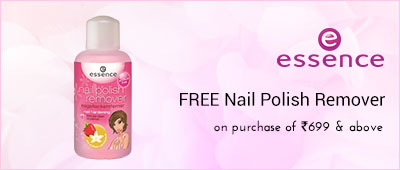 Essence free nail polish remover on purchase of 699 and above