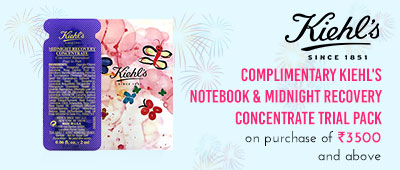 Get Online Offers on Kiehl's Products Complimentary Kiehl's Notebook and mid night pack on purchase of INR 3,500 or above