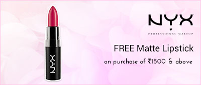 NYX Buy NYX products worth Rs 1500 and get a Matte lipstick worth Rs 625 free