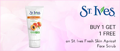 St.Ives Buy 1 Get 1 Free on St.Ives Fresh skin apricot face scrub