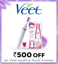 Veet Rs 500 off on Veet sensitive touch trimmer MRP=2250/SP=1749
