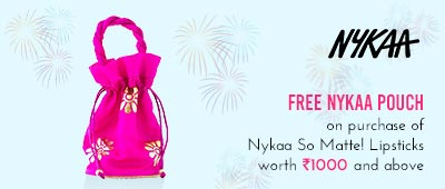 Get Online Offers on Nykaa So Matte Products ON PURCHASE OF RS.1000/- AND ABOVE GET Pouch Free.